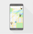 phone with map flat style on a grey background vector image