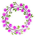 Pink Flower watercolor wreath for beautiful design vector image vector image