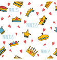Princess seamless pattern with hand drawn crowns vector image vector image