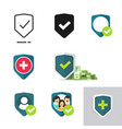 protection shield icons set of family or financial vector image