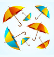 realistic 3d detailed color umbrella falling set vector image vector image