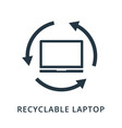 recyclable laptop icon flat style icon design ui vector image vector image