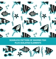 seamless pattern marine fish plus isolated vector image vector image