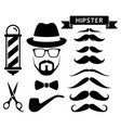 set hipster barber elements vector image