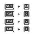 shift alt ctrl c ctrl v ctrl z keyboard buttons vector image