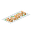 Slum district Isometric city buildings Yard among vector image vector image