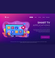 smart tv applications concept landing page vector image vector image
