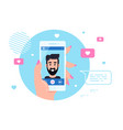 smartphone video call concept banner flat style vector image vector image