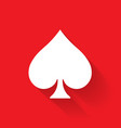 spade poker suit symbol white sign on red vector image vector image