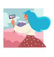 traveler taking selfie mount female character vector image