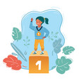 winner kid on first place vector image vector image