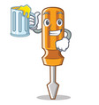 with juice screwdriver character cartoon style vector image vector image