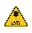 woman car driver sticker female in automobile vector image vector image