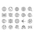 world line icon set vector image vector image