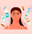 young girl has problem skin acne and spots vector image