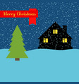 winter night with lonely house and falling snow vector image