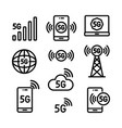 5g line icons set in simple style vector image vector image