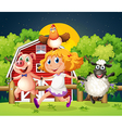 A girl playing with the farm animals vector image vector image