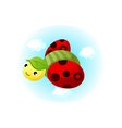 A ladybird is flying vector image vector image