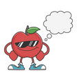 apple character with sunglasses and speech bubble vector image vector image