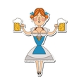 bavarian woman with beer icon vector image vector image