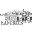 beaded handbags text word cloud concept vector image vector image