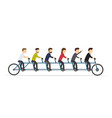 business people riding on a five-seat bicycle vector image