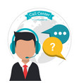 call center man business bubble speech vector image vector image