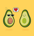 cartoon funny avocado icon with black vector image