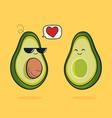cartoon funny avocado icon with black vector image vector image