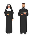 catholic priest and nun holding cross rood vector image