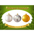 christmas decorations collection white silver vector image vector image