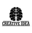 creative idea brain logo simple style vector image vector image