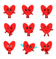 cute hearts with different emotions set vector image