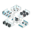 datacenter isometric multistore composition vector image vector image