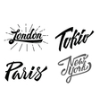 Different city names hand-lettering vector image vector image
