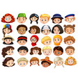 different faces of happy children vector image vector image