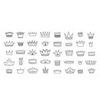 doodle crowns royal king and queen decorative vector image