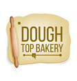 dough wooden rolling pin fresh raw tasty vector image