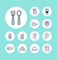 eating icons set with beef hanging board spoon vector image