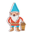 gnome with hand lamp in watercolor silhouette vector image vector image