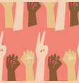 go girl pattern with raised women hands vector image