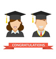 Graduation Man and Woman Icon vector image