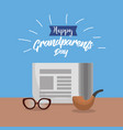 grandparents day with pipe and news paper with vector image