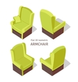 Green Armchair in Isometric vector image vector image