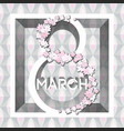 greeting card with 8 march womens day 1 vector image vector image