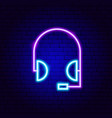 headset neon sign vector image vector image