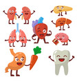 human organs healthy and unhealthy anatomic funny vector image vector image