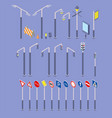 isometric road objects icons set traffic street vector image