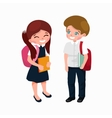 little girl and boy with school backpack and books vector image vector image